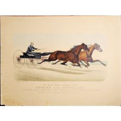 1882 Trotting horse EDWARD and SWIVELER ,Currier & Ives, chevaux, print, Litho