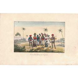 Lithographie, danse du serpent,1826, Comte de Noe, joliement coloriée