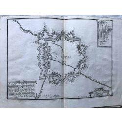1694 ATH / Aat / Ate, région wallonne, ville forte, carte-ancienne-antiquarian-map-landkarte-kupferstich-n-de-fer