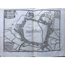 1690 MONS / BERGEN, ville forte, Hainaut, carte-ancienne-antiquarian-map-landkarte-kupferstich-n-de-fer
