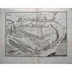 1693 carte geographique ancienne, antiquarian map, defaite de l'armee des alliez dans leur camp de Neerwinde