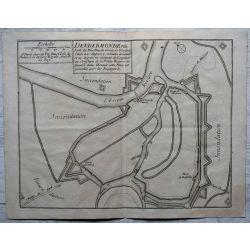 1694 TERMONDE / Dendermonde, ville forte, carte-ancienne-antiquarian-map-landkarte-kupferstich-n-de-fer