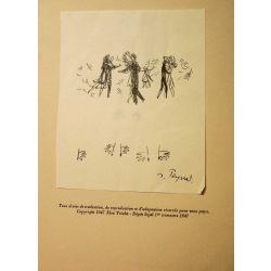Dessins animes ,Elsa triolet, dessins Peynet, 1 dessin original