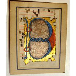 Enluminure, Grande BIG Lettre ornée B, 15ième Manuscrit manuscript parchemin,livre d'heures  la15