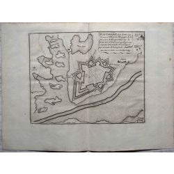 1694 FONTARABIE, port et ville forte, Espagne-carte-ancienne-antiquarian-map-landkarte-kupferstich-n-de-fer