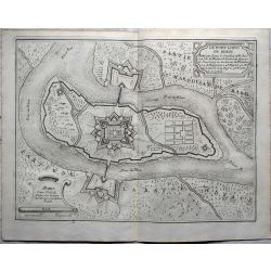 1694-Le fort Louis du Rhein,landkarte, kupferstich,  -carte-ancienne-antiquarian-map-n-de-fer