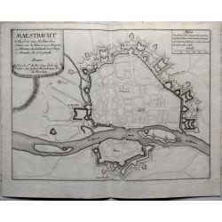 1693-MAASTRICHT-MAESTRICHT-ville-forte-carte-ancienne-antiquarian-map-landkarte-kupferstich-n-de-fer