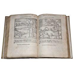 LA16, 1585 La Venerie par Fouilloux J ,54 woodcuts,bois hunting dogs,hounds,chiens.