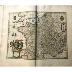 c1645 BLAEU, Carte ancienne, hand coloured Antique Map, Gallia Royaume de France