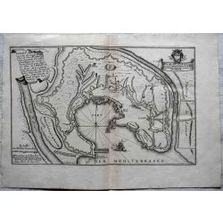 1695, Carte ancienne , antiquarian Map Genes Genova , N. de Fer