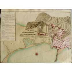 1779 GIBRALTAR, vue du côté nord, carte-ancienne-antiquarian-map-landkarte-kupferstich