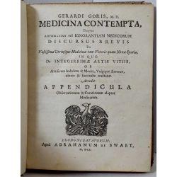 la18 MEDECINE Gerardi Goris Medicina contempta, propter vel ignorantiam medicorum 1700 MEDECIN