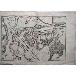 1693 carte geographique ancienne, antiquarian map, Hailbron, Heilbronn, campement de l'armee de l'empereur, N. de Fer.
