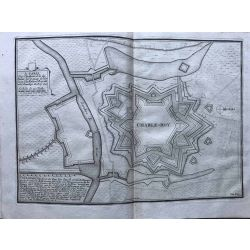 1690 CHARLEROI / Charnoy, place forte, Hainaut, carte-ancienne-antiquarian-map-landkarte-kupferstich-n-de-fer