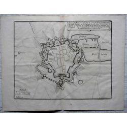 1694 LE QUESNOY, ville forte, Hainaut, carte-ancienne-antiquarian-map-landkarte-kupferstich-n-de-fer