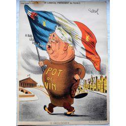 CARICATURE Raoul Cabrol  parti communiste Mr LEBECQ de l'U.N.C. pot de vin