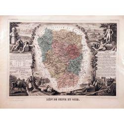 Carte authentique Levasseur dept. de Seine et OIse vers 1860