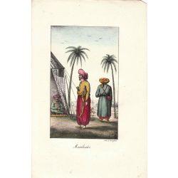 Lithographie, Mamlouks,1826, Comte de Noe, joliement coloriée