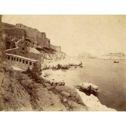 Prison du Comte de Monte  Cristo, Marseille, le Débarcadère chateau d'If, vintage albumen print, old photo, tirage argentique albuminé,1880/90, N.D.Phot.,Neurdein.