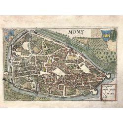 1580 Valegio, Mons / Bergen, Belgique, carte ancienne, antiquarian map, landkarte, kupferstich