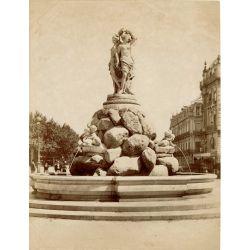 MONTPELLIER,  La fontaine des Trois Graces, vintage albumen print, old photo, tirage argentique albuminé,1880/90,  N.D.Phot.,Neurdein.