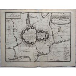 1693-Nanci, Nancy-landkarte kupferstich carte-ancienne-antiquarian-map-n-de-fer