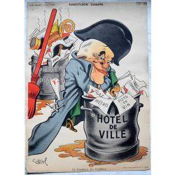 CARICATURE Raoul Cabrol  parti communiste NABOTLEON CHIAPPE poubelle en poubelle