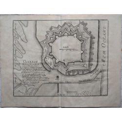1694 OSTENDE, ville forte et port de mer, carte-ancienne-antiquarian-map-landkarte-kupferstich-n-de-fer