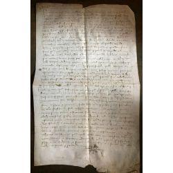 LA15 VELLUM PARCHEMIN MANUSCRIT MANISCRIPT 15th century 15ieme siecle 1410 Gevaudan, Auriac, Lorny