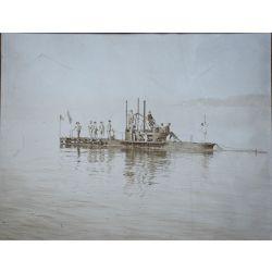 Photo albuminé 1907, PAUL SHACK sur son sous-marin le GRONDIN photo argentique (vintage photo).