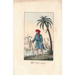 Lithographie, paysan egyptien,1826, Comte de Noe, joliement coloriée