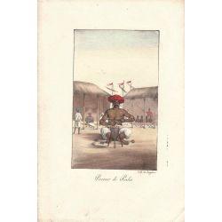 Lithographie, perceur de perles,1826, Comte de Noe, joliement coloriée