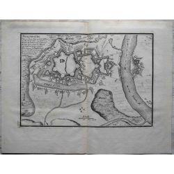 1694-Philisbourg ville forte situé au de la du Rhein -carte-ancienne-antiquarian-map-n-de-fer