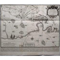 1690 BATAILLE DE FLEURUS, Belgique, carte-ancienne-antiquarian-map-landkarte-kupferstich-n-de-fer