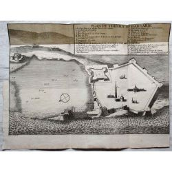 1694 TRIPOLI EN BARBARIE, ville forte, carte-ancienne-antiquarian-map-landkarte-kupferstich-n-de-fer