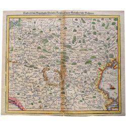 1580, S. MUENSTER, MUNSTER, HONGRIE, Ungarn, carte-ancienne-colorée, antiquarian-map-landkarte-bois-woodcut.