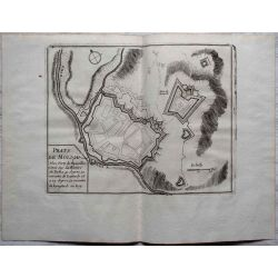 1694 PRATS DE MOLLO, place forte, Pyrénées-carte-ancienne-antiquarian-map-landkarte-kupferstich-n-de-fer