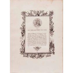 Numismatique, gravure authentique, les preliminaires de paix 1727