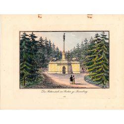 Gravure TRANQUILLO MOLLO Kupferstich, 1815, Osterreich, Austria, Die Rittersaule im garten zu Luxembourg, coloriée a la main