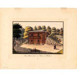 Gravure TRANQUILLO MOLLO Kupferstich, 1815, Schweizerhaus im parke zu Baden, joliement coloriée