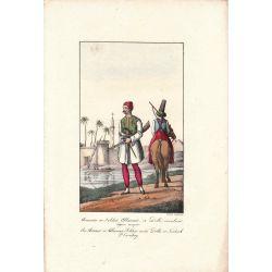 Lithographie, Soldat albanais, 1826, Comte de Noe, joliement coloriée