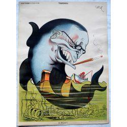 CARICATURE Raoul Cabrol  parti communiste TARDIEU, le Requin