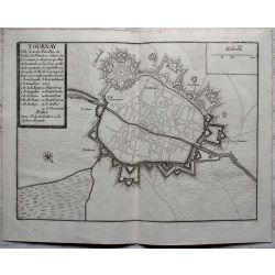 1694 TOURNAI / TOURNAY, ville forte en Flandre-carte-ancienne-antiquarian-map-landkarte-kupferstich-n-de-fer