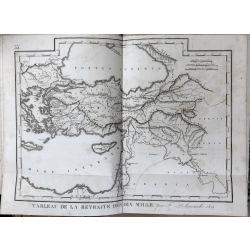 1824 Delamarche TURQUIE, LA RETRAITE DES DIX MILLE, carte ancienne, antiquarian map, landkarte, kupferstich