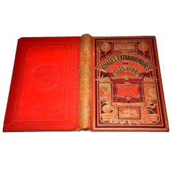 Jules Verne vingt mille lieues sous les mers cartonnage hetzel deux elephants rouge