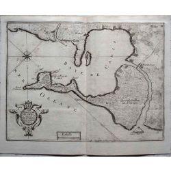 1693-ESPAGNE CADIS PORT-Andalousie, landkarte kupferstich carte-ancienne-antiquarian-map-n-de-fer