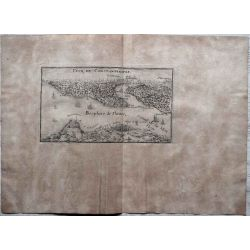 1695, Carte ancienne, antiquarian Map, Vue de Constantinople,Bosphore, N. de Fer