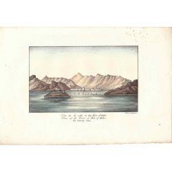Lithographie, vue fort d'aden, 1826, Comte de Noe, joliement coloriée