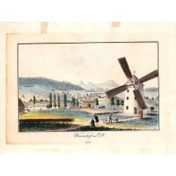 Gravure TRANQUILLO MOLLO Kupferstich, 1815, Warnsdorf von ost, joliement coloriée