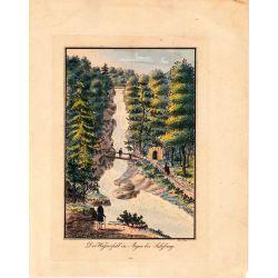 Gravure TRANQUILLO MOLLO Kupferstich, 1815, wasserfall in Aigen bei Salzburg, joliement coloriée